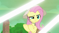 Fluttershy looking at the array of lights S9E21