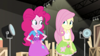 Pinkie Pie and Fluttershy look at each other EGS2