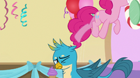 Pinkie Pie jumps off of Gallus' head S8E12