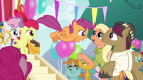 Scootaloo jumping toward her parents S9E12