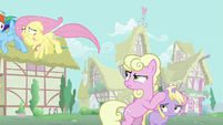 Millie glares at Fluttershy while covering Dinky Doo's ears S6E11