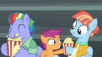 Scootaloo gives popcorn to Windy Whistles S7E7