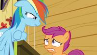 Scootaloo looks nervous at Rainbow Dash S8E20