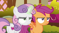 Sweetie Belle and Scootaloo look annoyed S9E23