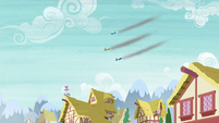 The Wonderbolts flying over Ponyville S6E7