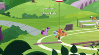 Twilight and Rainbow on side of the field S9E15