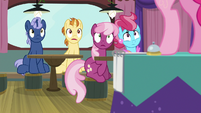 Cheerilee and Mrs. Cake stare at Pinkie S9E16