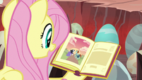 Fluttershy reading a story to the eggs S9E9
