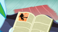 Rainbow Dash looks down at Daring Do book SS12