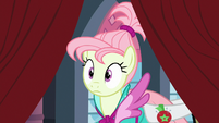 Rarity's model pushed through the curtains S8E4