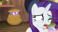 Rarity repulsed by Spike's molt smell S8E11