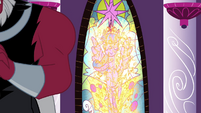 Stained glass window of Twilight melted S4E26