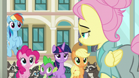 Twilight and friends step outside the shop S8E4