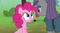 Pinkie Pie bumps into Maud Pie S8E3