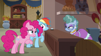 Pinkie Pie making a fancy greeting S7E18