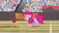 Pinkie sees buckball bouncing toward her S9E6