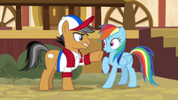 Quibble smacks Rainbow's hoof away S9E6