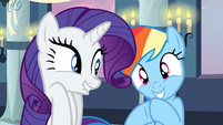 Rarity and Rainbow Dash giggling S2E25