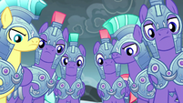 Royal guards nodding to Spike S6E16