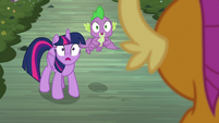 Twilight and Spike notice the treehouse S9E3