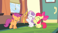 Apple Bloom and Sweetie Belle cheering S4E24