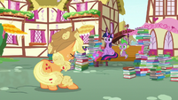 Applejack appears before Twilight and Spike S8E18