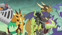 Dragons in armor listen to Torch S6E5
