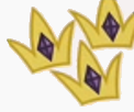 Three golden crowns with purple jewels