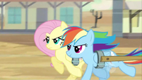 Fluttershy and Rainbow Dash galloping S2E14