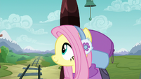 Fluttershy smiling after the volcano vanishes S6E17