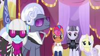 Photo Finish, Hoity, and contest ponies smile at Rarity S7E9