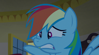 Rainbow Dash looking extremely worried S8E5