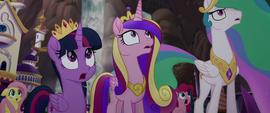 Twilight, Cadance, and Celestia watching the invasion MLPTM