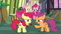 Apple Bloom and Scootaloo pretending to argue S8E12