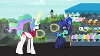 Celestia having fun; Luna not having fun S9E13