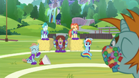 Cheer squad laughing at Snips S9E15