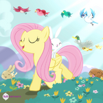 Fluttershy walking with animals promotional S4E14