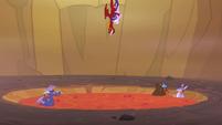 Garble and Starlight dive toward lava pool S7E1
