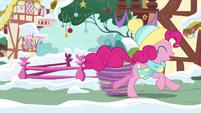 Pinkie Pie speeding past Spike MLPBGE