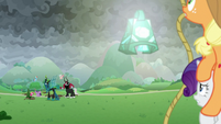 Ponies and villains look toward the bell S9E25