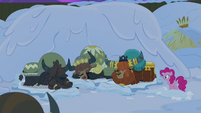 Rutherford and yaks go to sleep on the snow S7E11