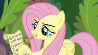 Angel checking off Fluttershy's list S9E18