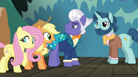 Applejack and Fluttershy meet director pony S6E20