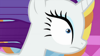 Close-up on magic-blasted Rarity MLPS1