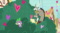 Discord taking notes in the bushes S8E10