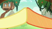 Fluttershy and Applejack hoof-bump S8E23