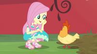 Fluttershy talking to Applejack's chicken CYOE2b