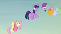 Flying pumpkin hits Twilight and Fluttershy's bags S5E23