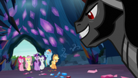 King Sombra grins at the Mane Six S9E2