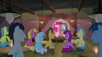 Pinkie and Maud in front of laughing crowd S8E3